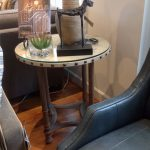 Round Canvas & Glass End Table