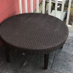 Outdoor Round Wicker Coffee Table